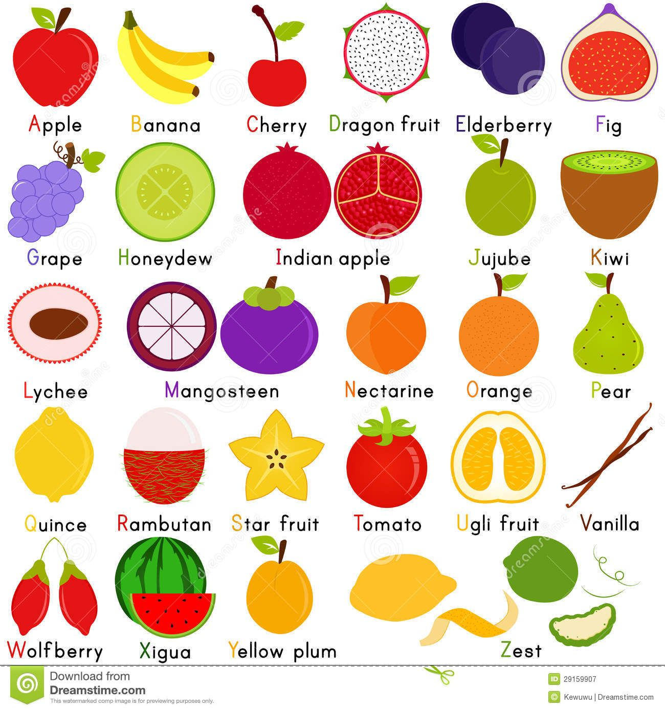 Vector Icons Of Fruit With Alphabet A To Z Royalty Free