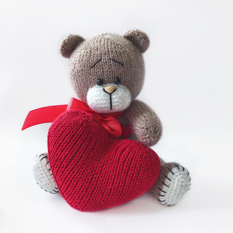 Knit toy bear with a soft heart brown bear plush toy cute amigurumi toy handmade keepsake bear toy on memory little teddy bear newborn photo
