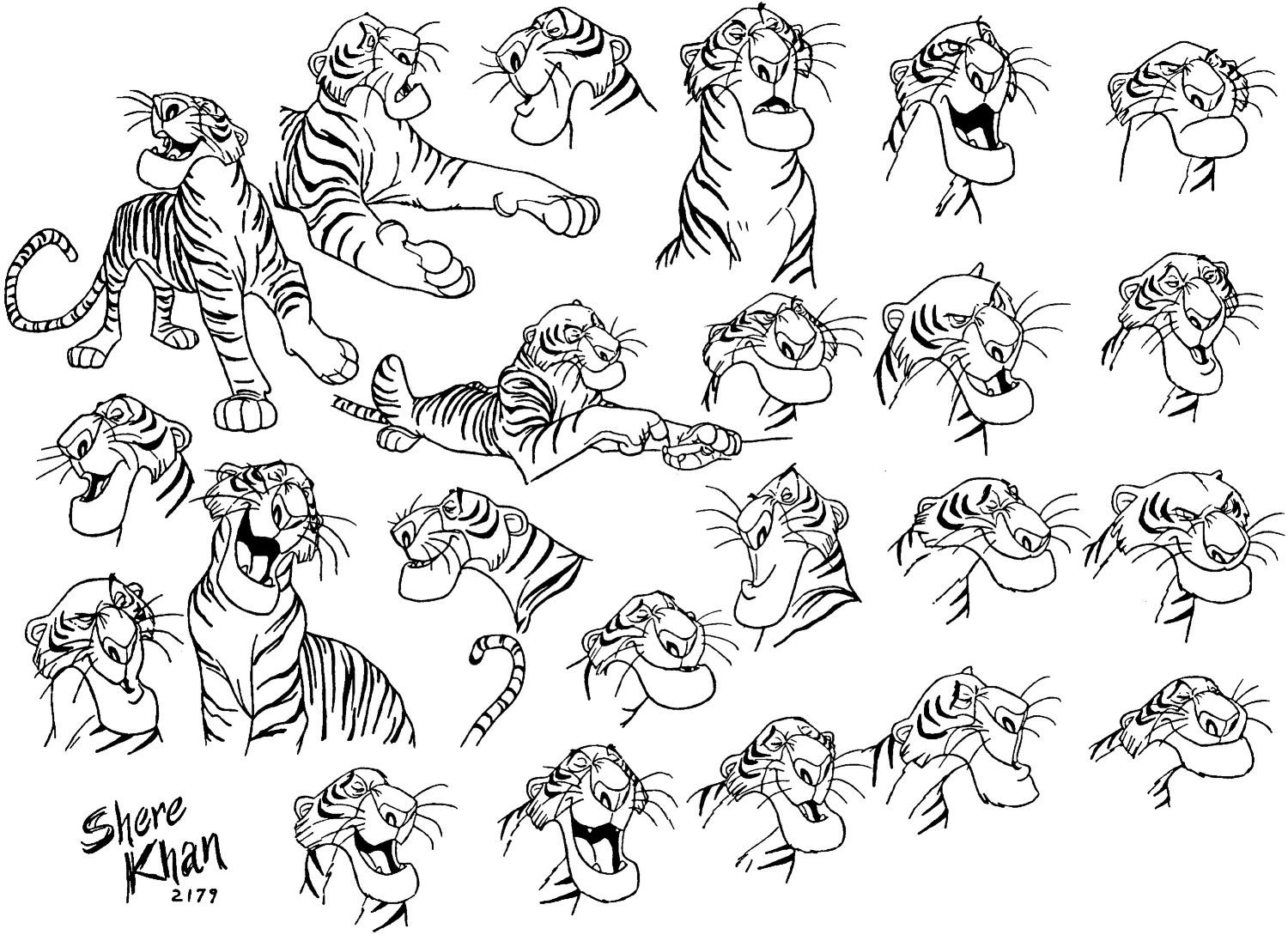 Picture Book Character Design : Shere khan jungle book animation model sheet