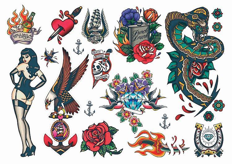 Temporary Tattoos Vintage Style Rockabilly Temporary Tattoos ...