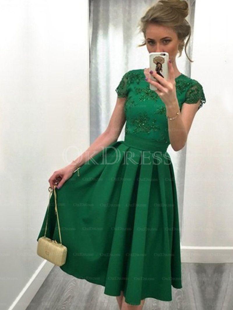 Classic aline natural satin scoop prom dresses by okdress uk