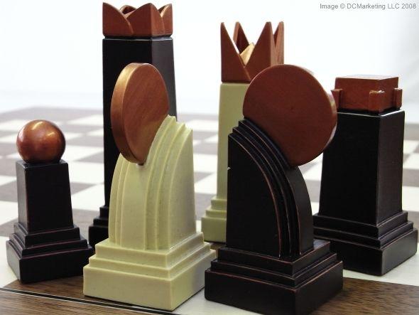 Art Deco Plain Theme Chess Set A Game Of Chess