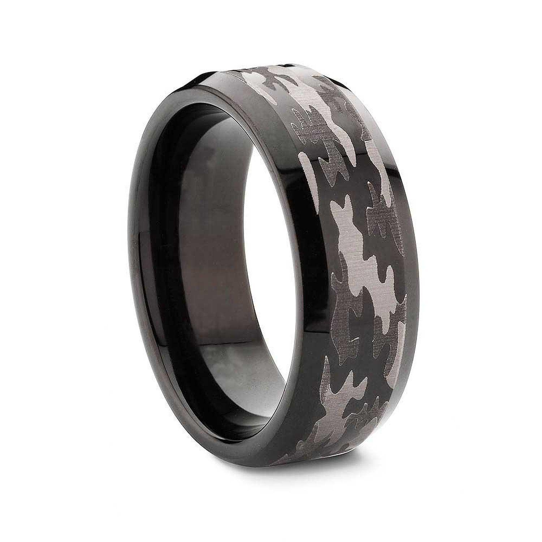King Will 8mm Bevel Edge Tungsten Carbide Black Hunting