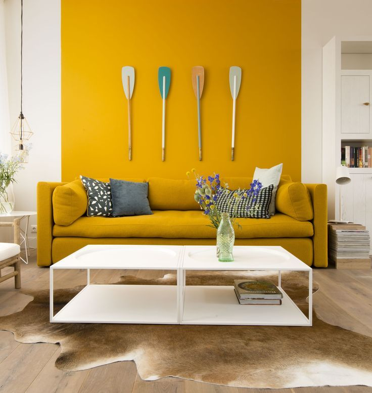 Image result for color blocking wall   Yellow walls living ...