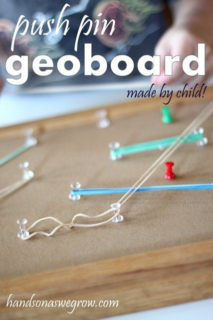 A push pin Geoboard with rubberbands. Made completely by child!