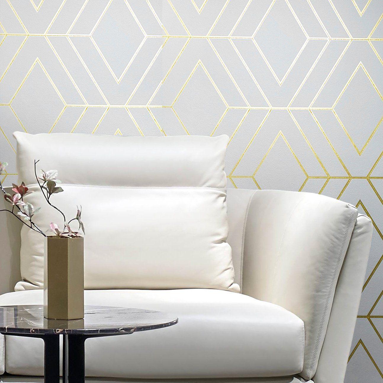 Wm42344 Geometric White Gold Glitter Wallpaper Gold Wallpaper Living Room Gold Wallpaper Bedroom Geometric Wallpaper White