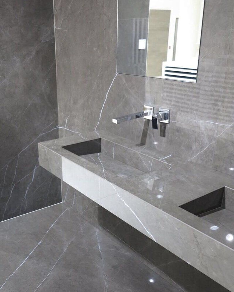 Pietra grey porcelain tile marble look slab floor - Marble look bathroom floor tiles ...