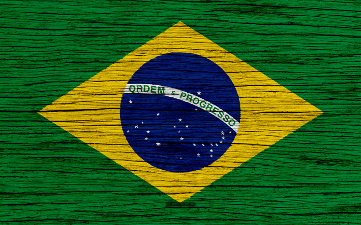 Download Wallpapers Flag Of Brazil 4k South America Wooden