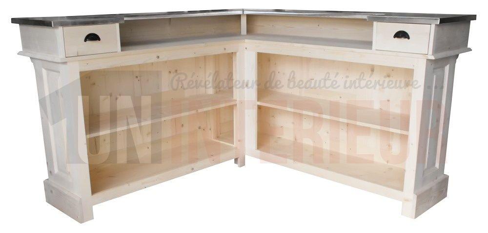 Comptoir De Bar Dangle 180cm X 180cm En Pin Massif Et Zinc