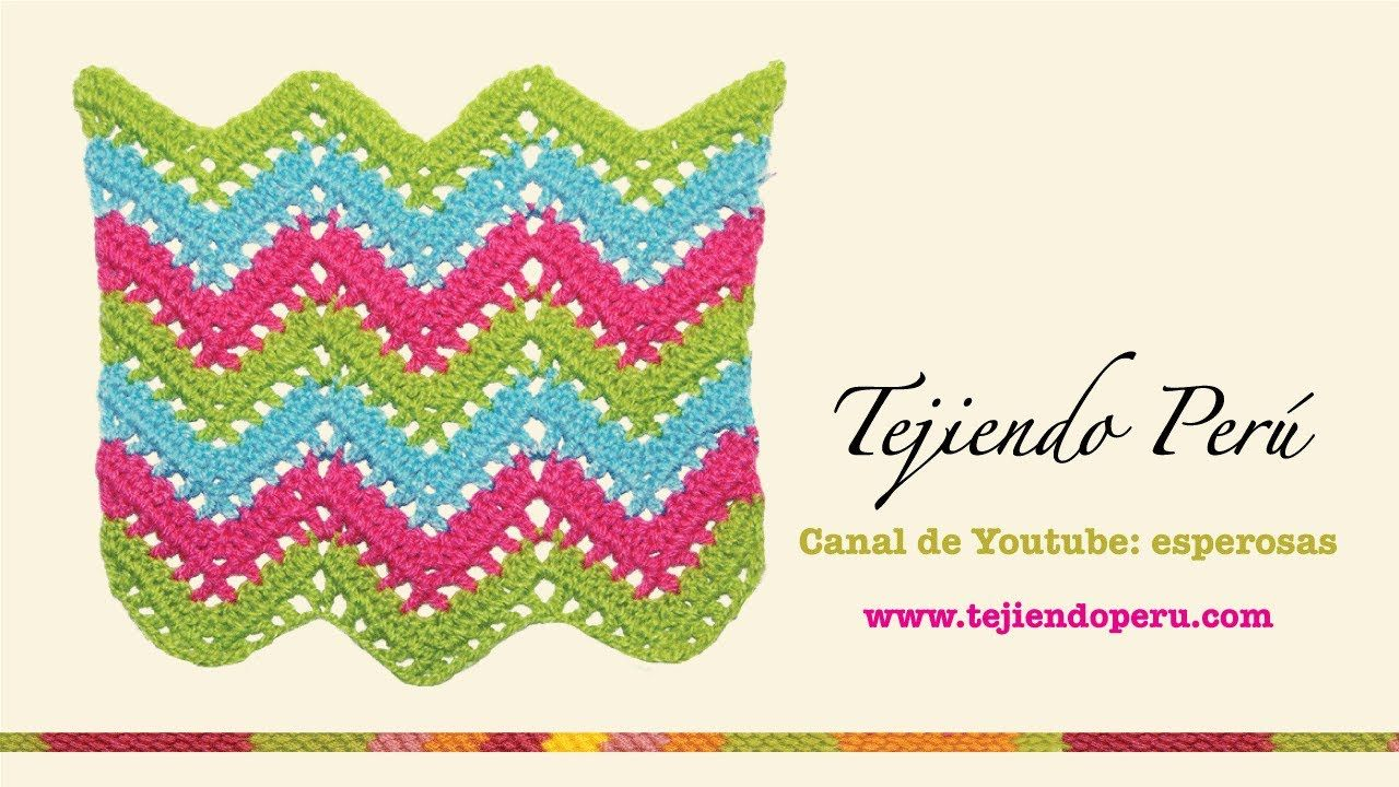 Punto zig zag calado en crochet | ganchillo | Pinterest | Puntos ...