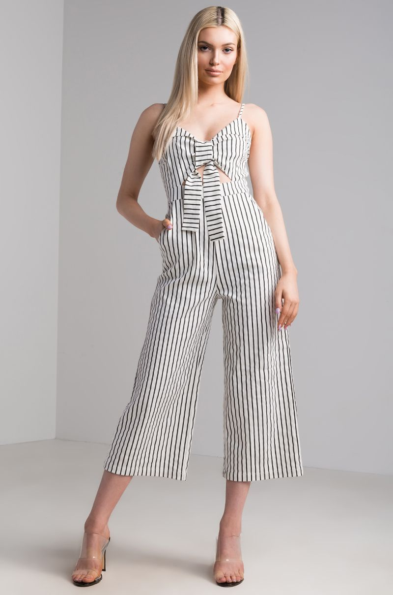 6f38b0830 The AKIRA label Trying To Tell You Striped Jumpsuit is giving you the sign  that you should buy it (is that just us?), made from mid-weight cotton with  thin ...