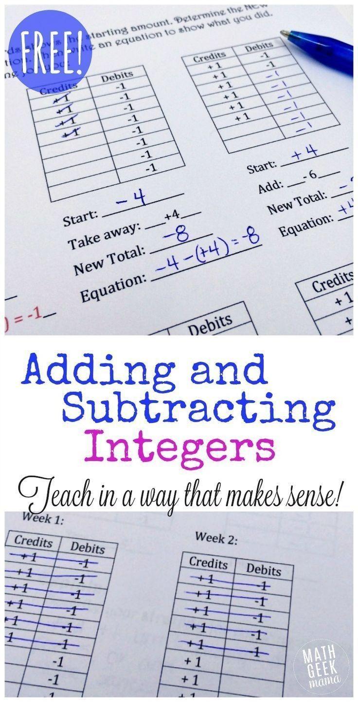 3 Worksheet Free Math Worksheets Sixth Grade 6 Integers Addition Of Integers Missing Addend F Integers Lesson Math Integers Adding And Subtracting Integers Rules for adding and subtracting