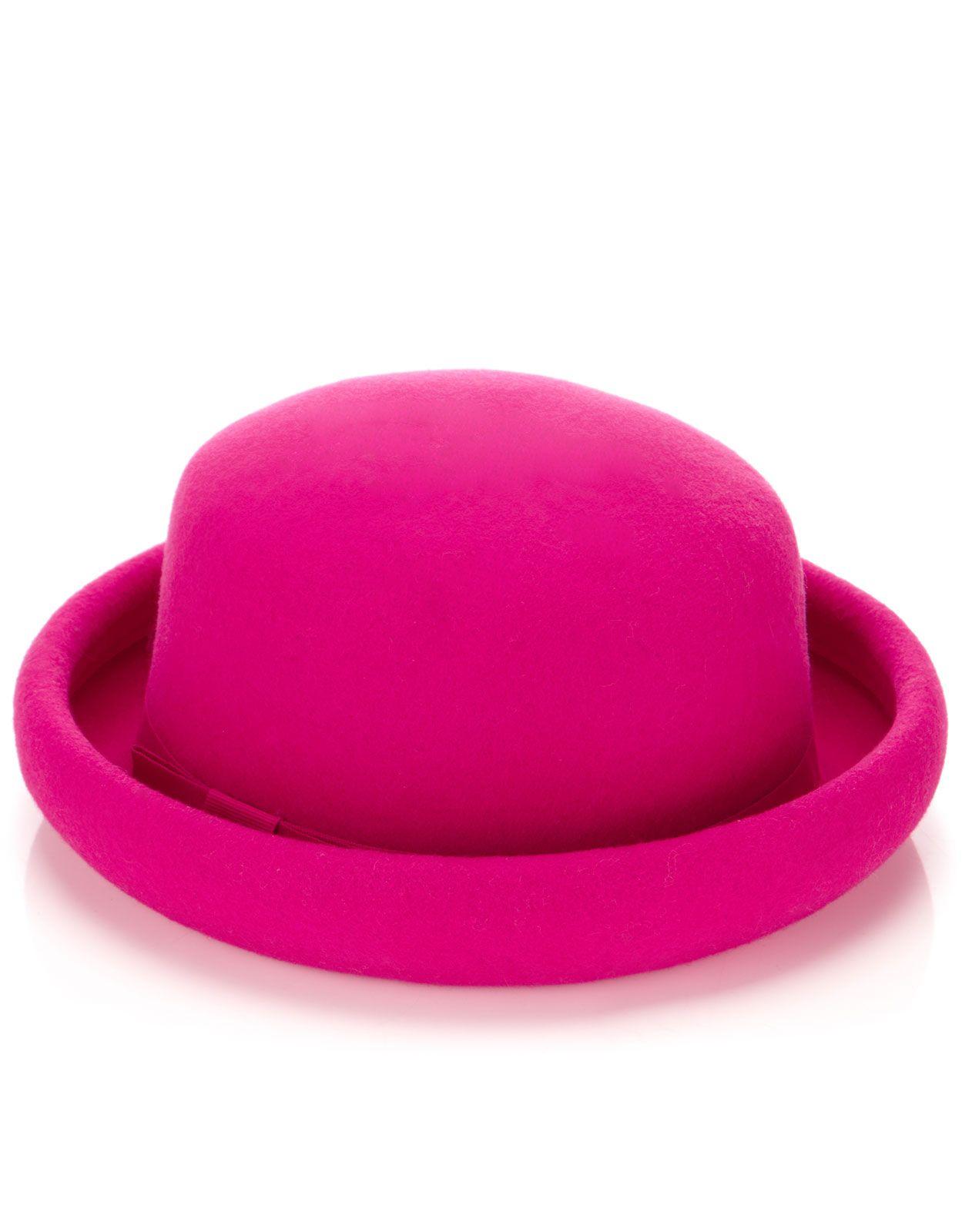 Filz-Melonenhut mit gerollter Krempe   Pink   Accessorize