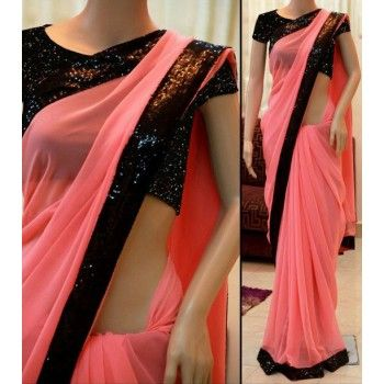460e8d2031a8ed Georgette Lace Work Peach Plain Saree - B004 | Online Sarees in 2019 ...