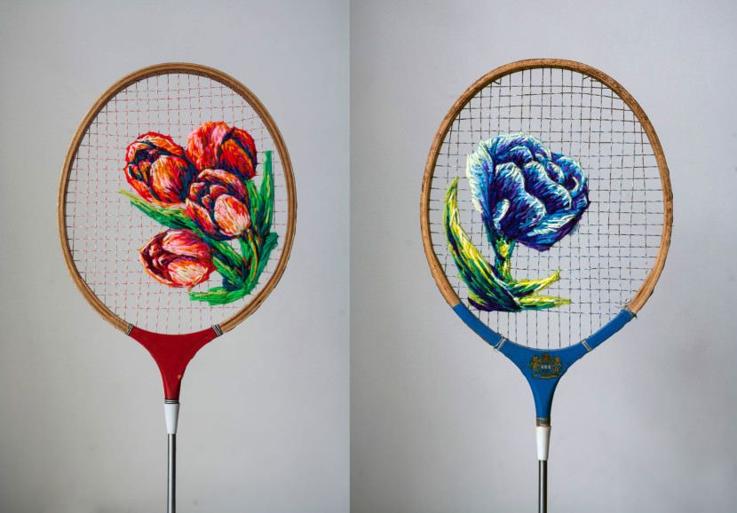 Featured Image for Embroidery surprisingly looks amazing on old tennis and badminton rackets