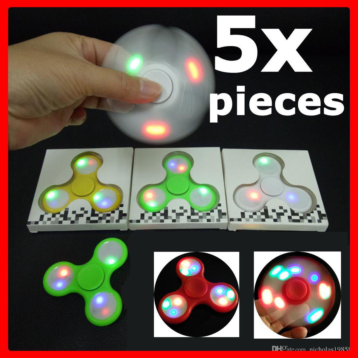 LOT OF 5 PACK Tri Fidget Hand Finger Spinner Gyro LED Flash Light Up EDC Focus