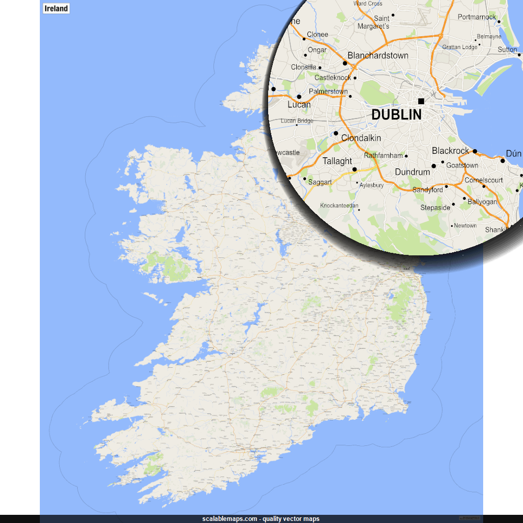 Map Of Ireland Roads.New Svg Vector Map A Map Of Ireland With Major Places And Roads