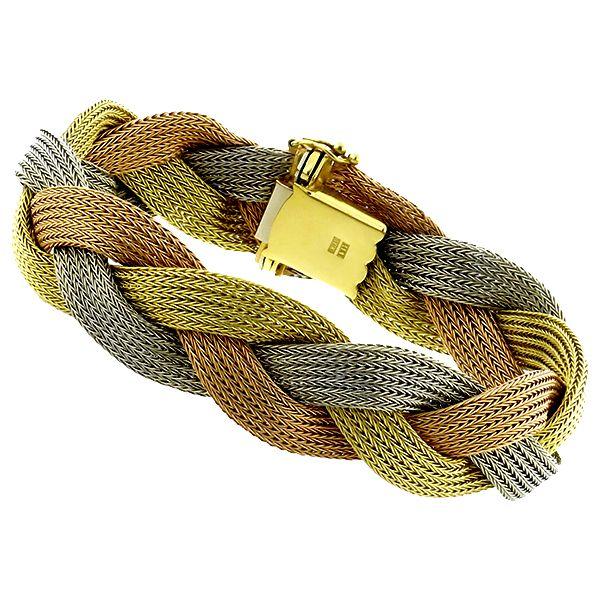Vintage 14k Yellow White Pink Color Gold Mesh Bracelet See more