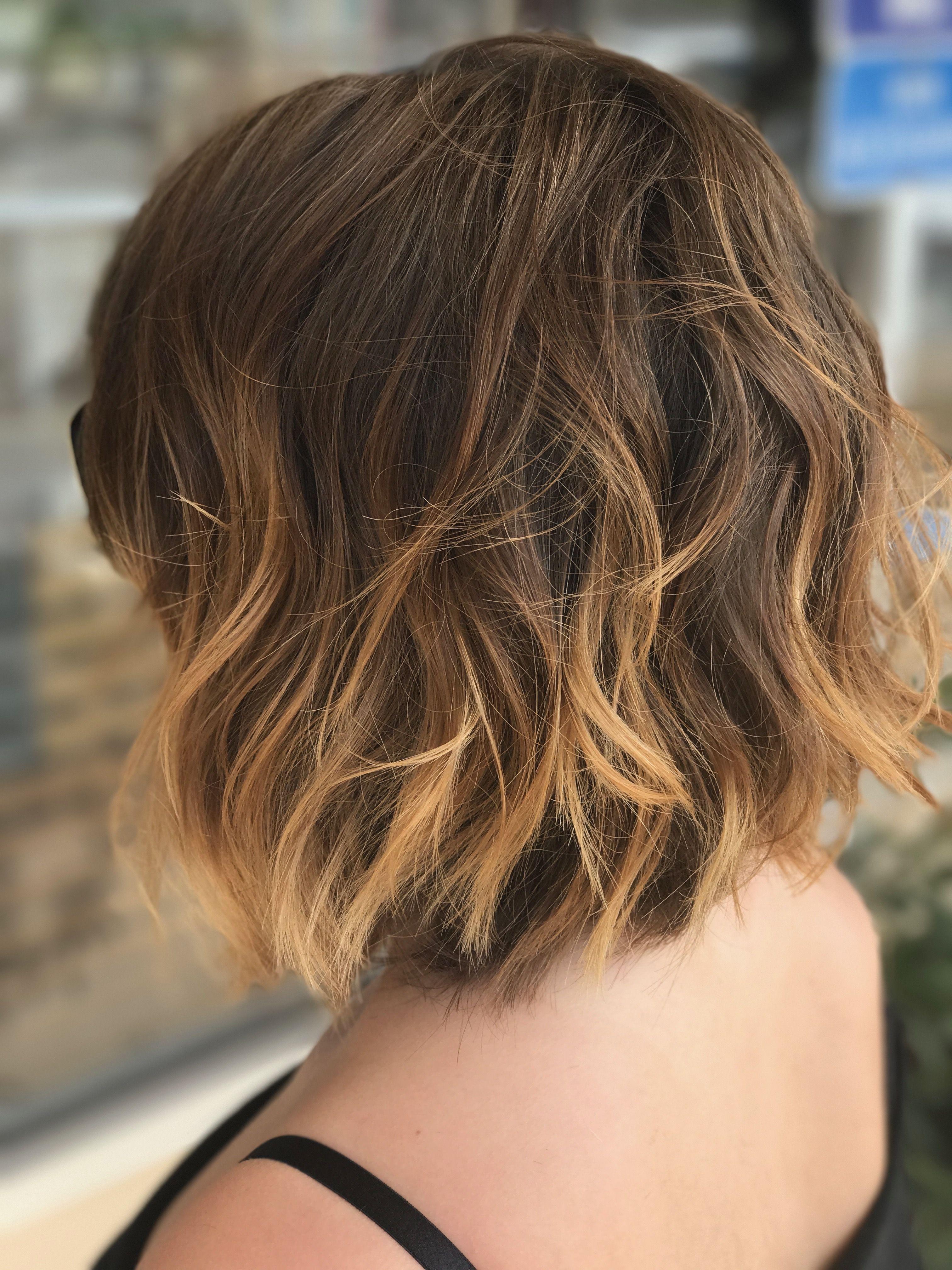 Undone Bob Short Wavy Hair Brown To Blonde Balayage Ombre Hair Color Hair By Kim Wallace Hea Brown To Blonde Balayage Short Wavy Hair Blonde Ombre Balayage
