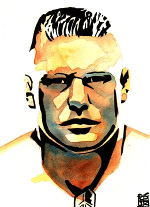 """Brock Lesnar l Ink and watercolor on 9"""" x 12"""" watercolor paper"""