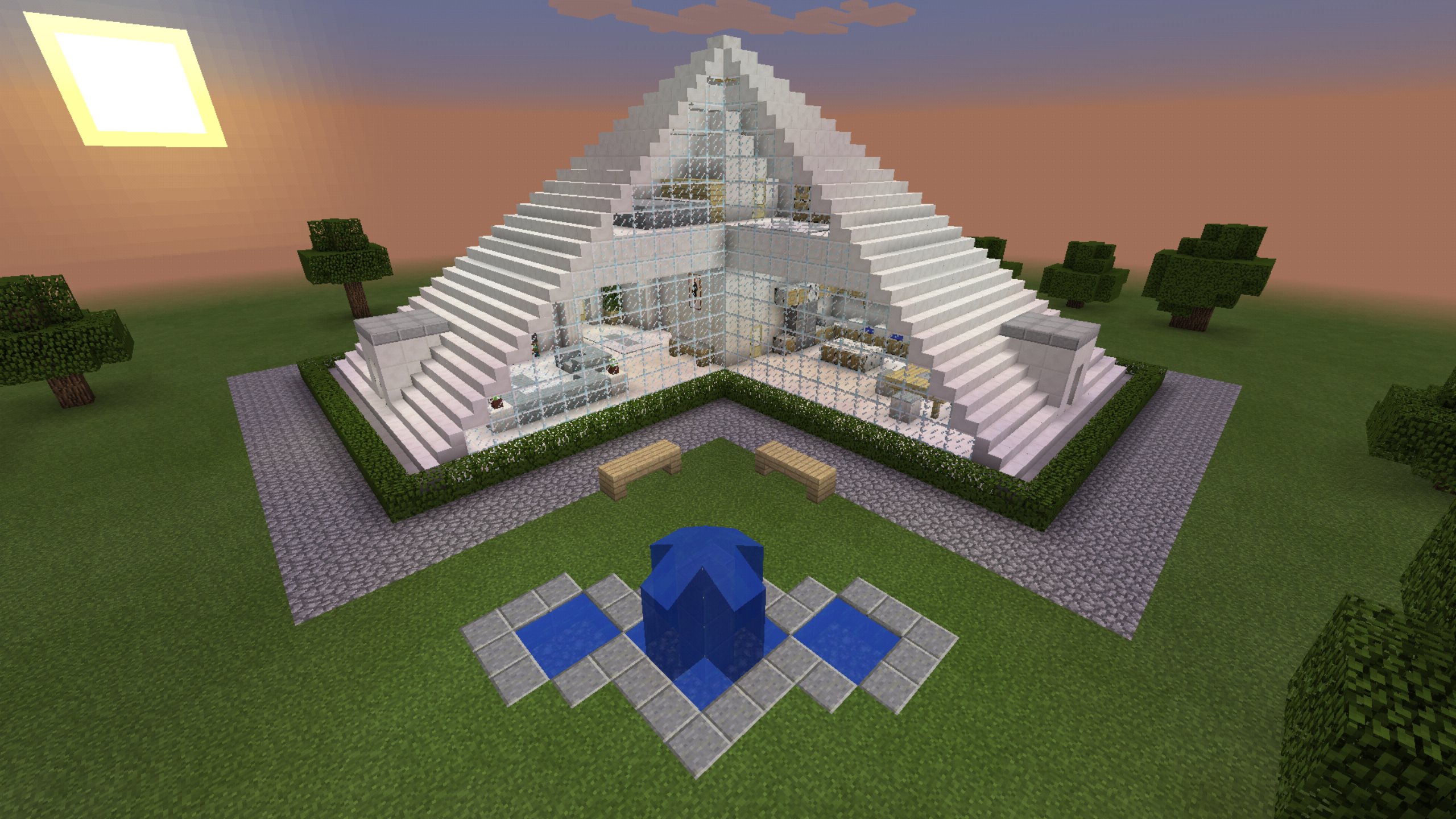minecraft glass pyramid house creation fountain modern home