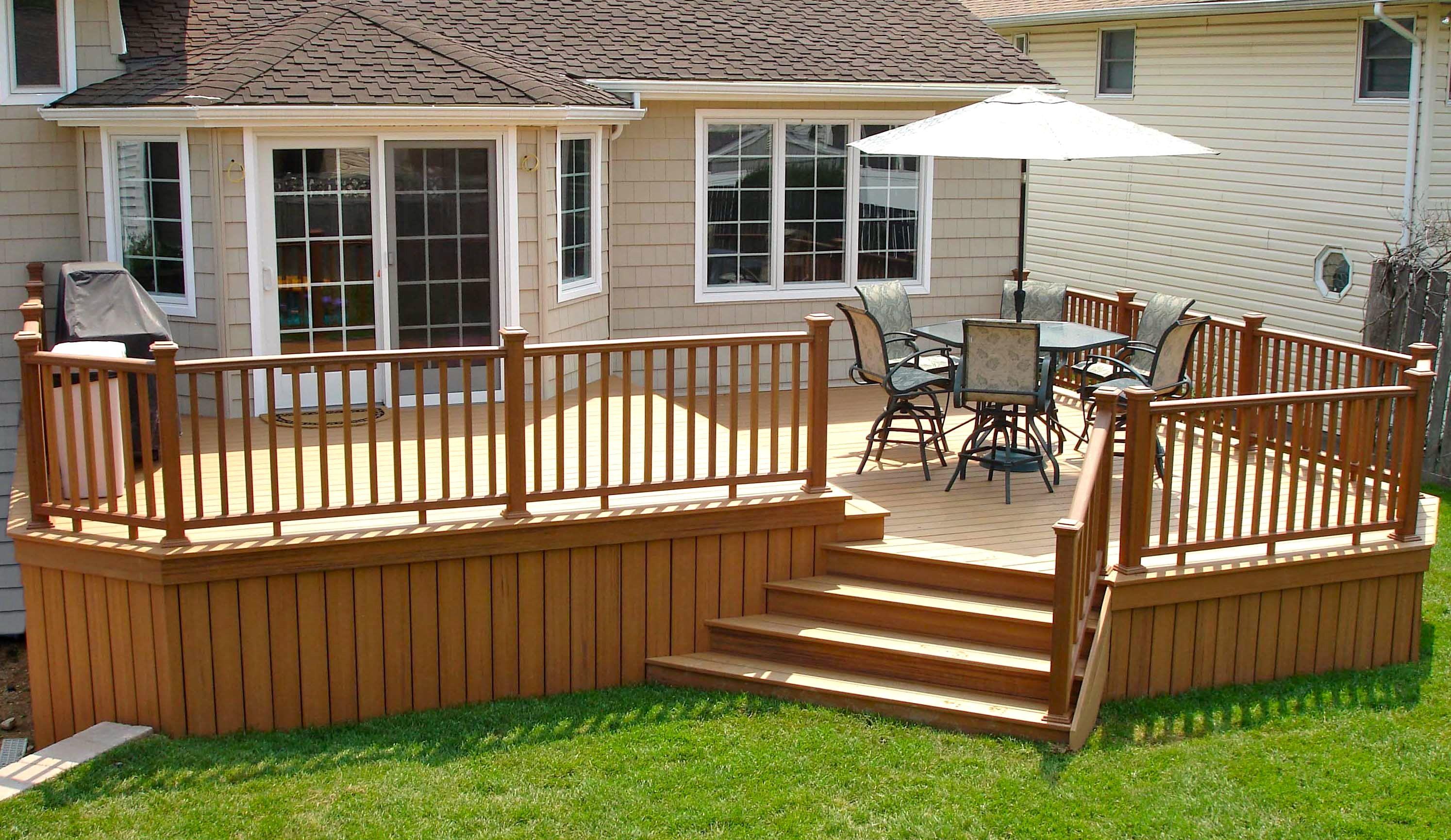 trex bi level deck with trex railings long island decks. Black Bedroom Furniture Sets. Home Design Ideas