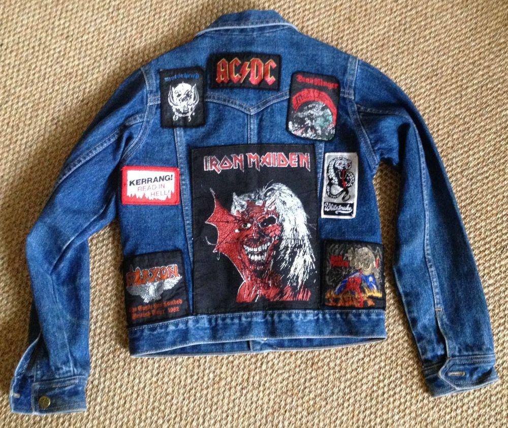 Vintage 80s Denim Jacket Kids Nwobhm Patches Iron Maiden Saxon Motorhead Acdc Battle Jacket Jean Jacket Outfits Patches Jacket [ 842 x 1000 Pixel ]