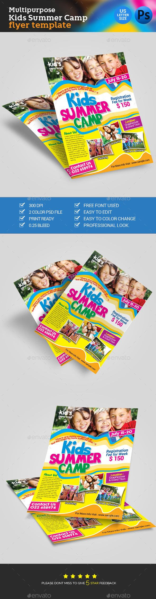 Kids Summer Camp Flyer   Campamento, Divertido y Creativo