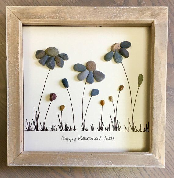 Retirement gift, Pebble Art Flower, special gift, Picture, gift retirement, Mum, friend, everlasting flower, unique gift, made to order 23cm #uniquecrafts