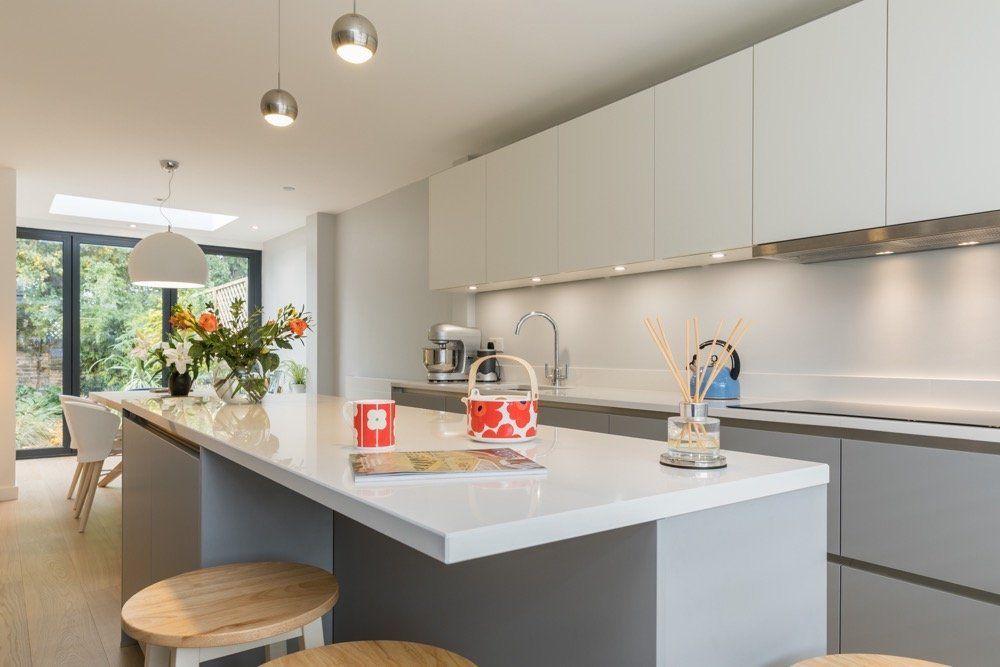 Best Pearl Grey White Lacquer Laminate Ultra Matt Kitchen 640 x 480