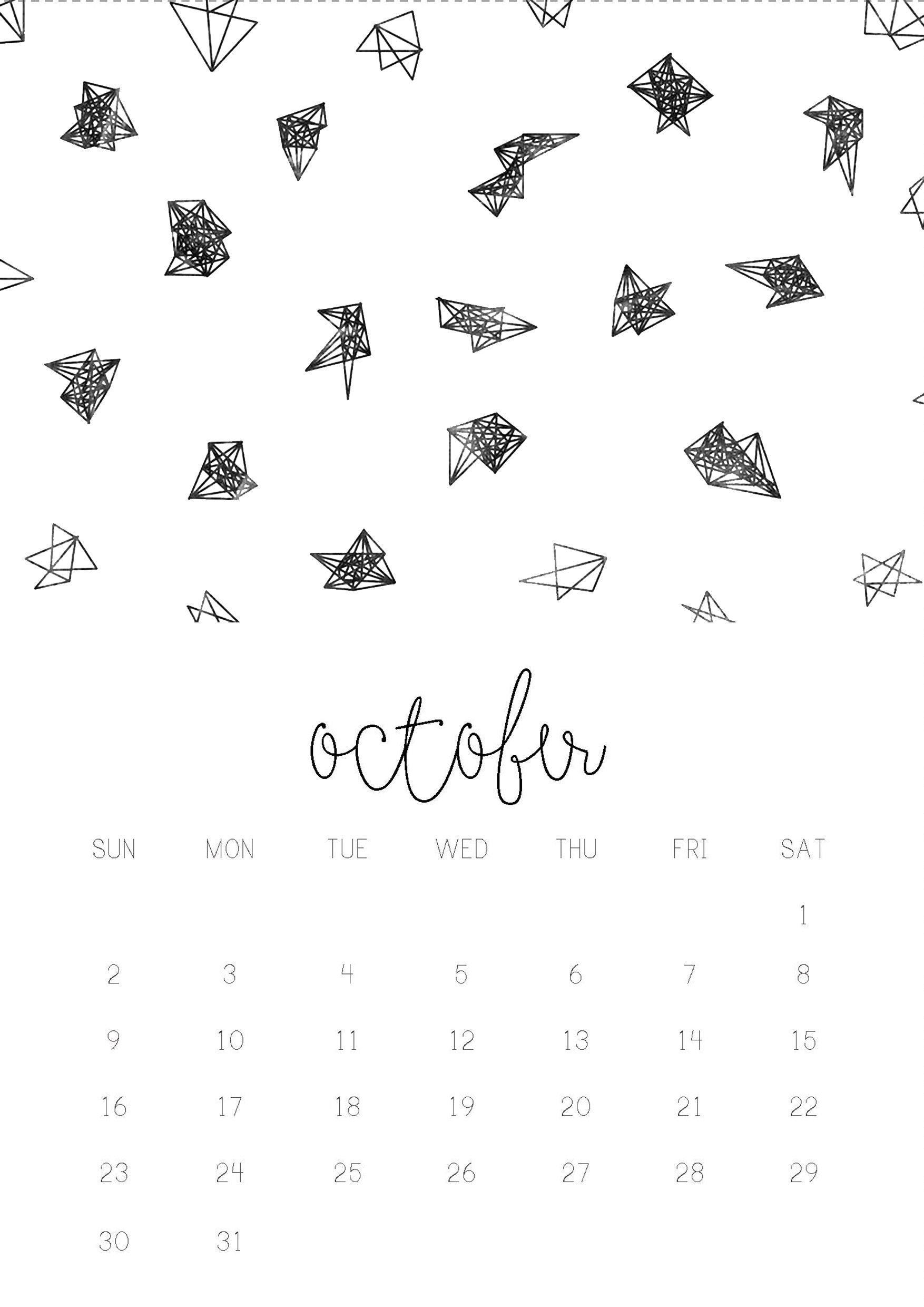10/12 October monthly 2016 calendar printable, collage