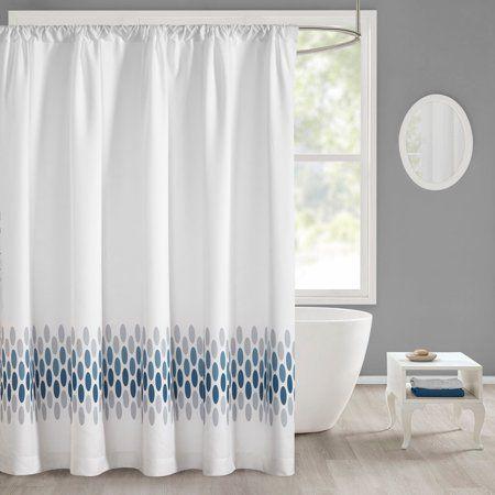 Mainstays Broad Geo Shower Curtain White Shower Curtains
