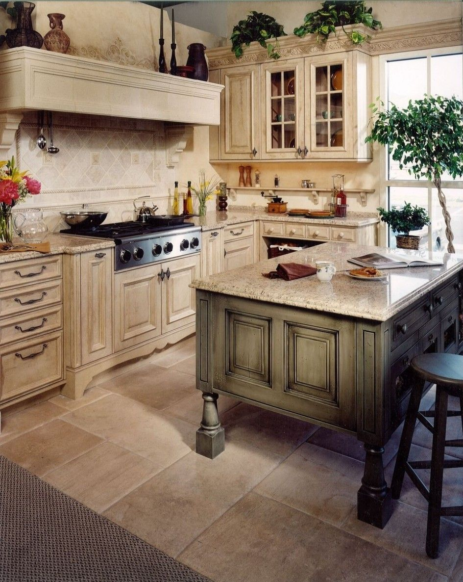 distressed kitchen island home depot kitchens green with birdcage cabinet knobs