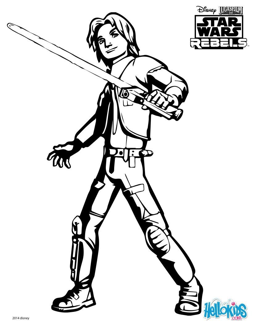 Ezra Coloring Page From Star Wars Rebels Tv Series More Star Wars Content On Hellokids Com Star Wars Colors Star Wars Kids Star Wars Coloring Book