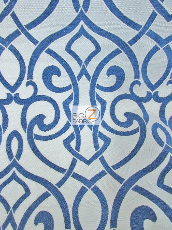 French Abstract Damask Upholstery Fabric - NAVY - Sold By Yard Sofa