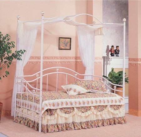 Amazon Com White Sweetheart Twin Canopy Day Bed With Rails Home