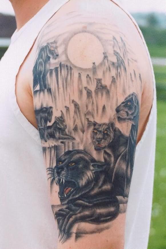 une meute de panth res tatou s sur le bras tatouage. Black Bedroom Furniture Sets. Home Design Ideas