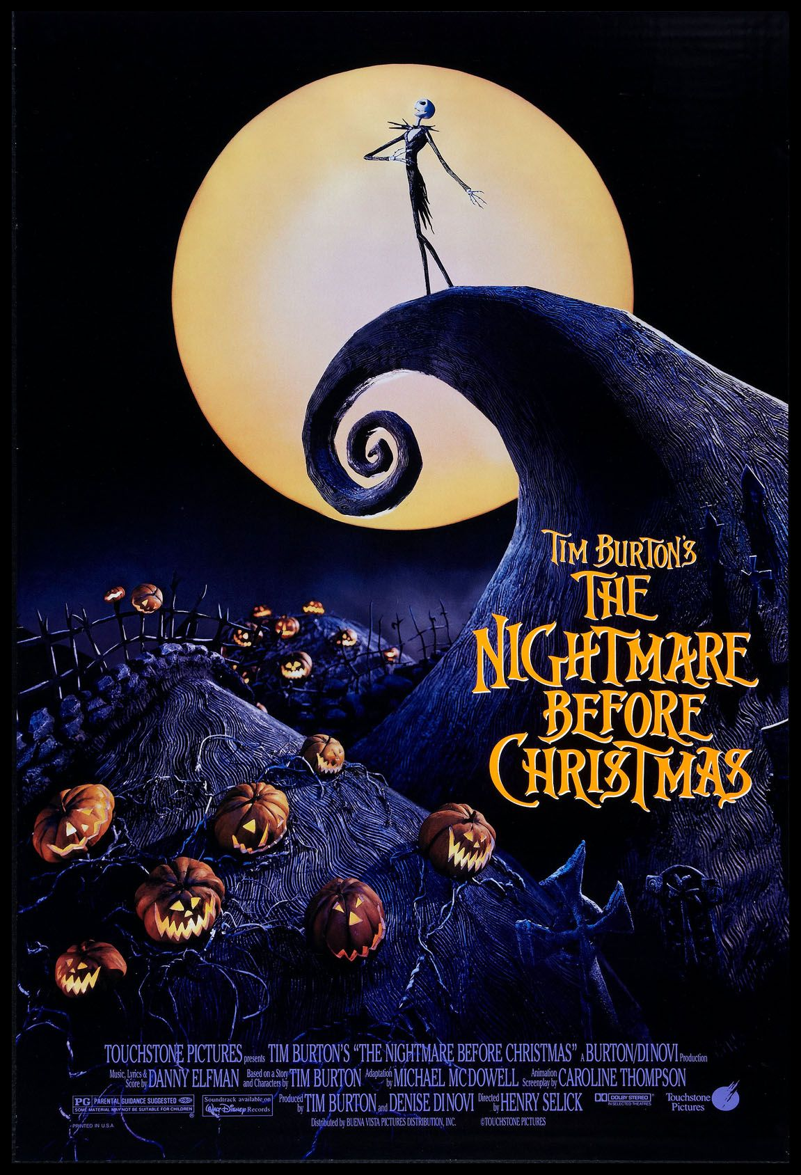 The Nightmare Before Christmas 1993 Original One Sheet Size 27x40 Movie Poster In 2020 Nightmare Before Christmas Movie Scary Movies Nightmare Before Christmas