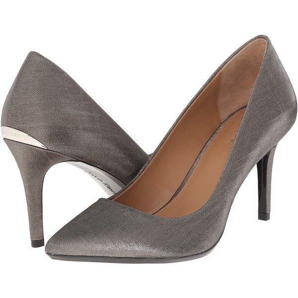 Women's Calvin Klein Gayle Heels (Anthracite Coated Matte Linen)