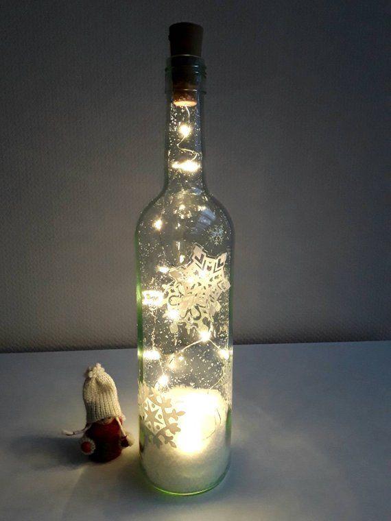 Deko Flasche mit Beleuchtung Weihnachtsdeko Bottle light