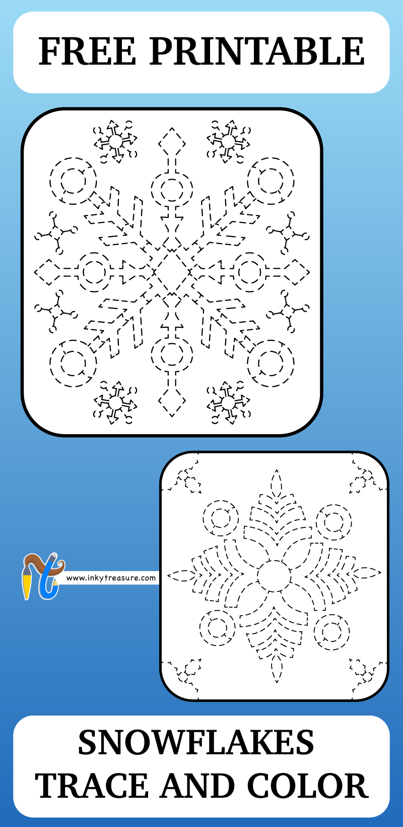 Snowflakes Trace and color worksheet that\'s packed full of fun fine ...