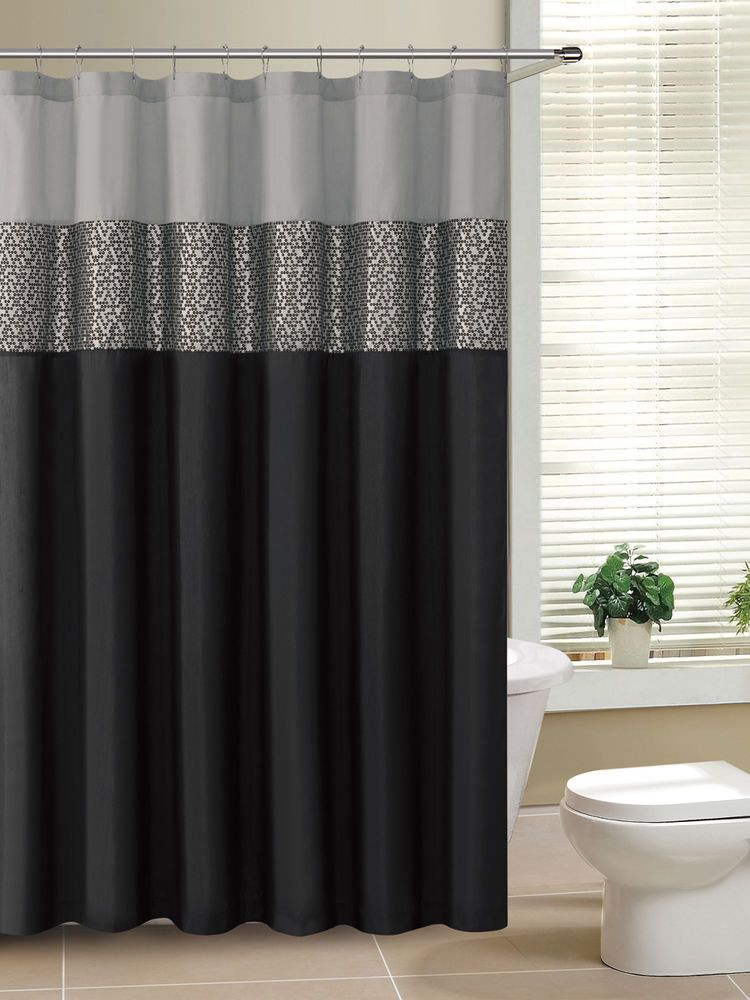 Rio Black and Gray Fabric Shower Curtain with Metallic Silver Accent ...