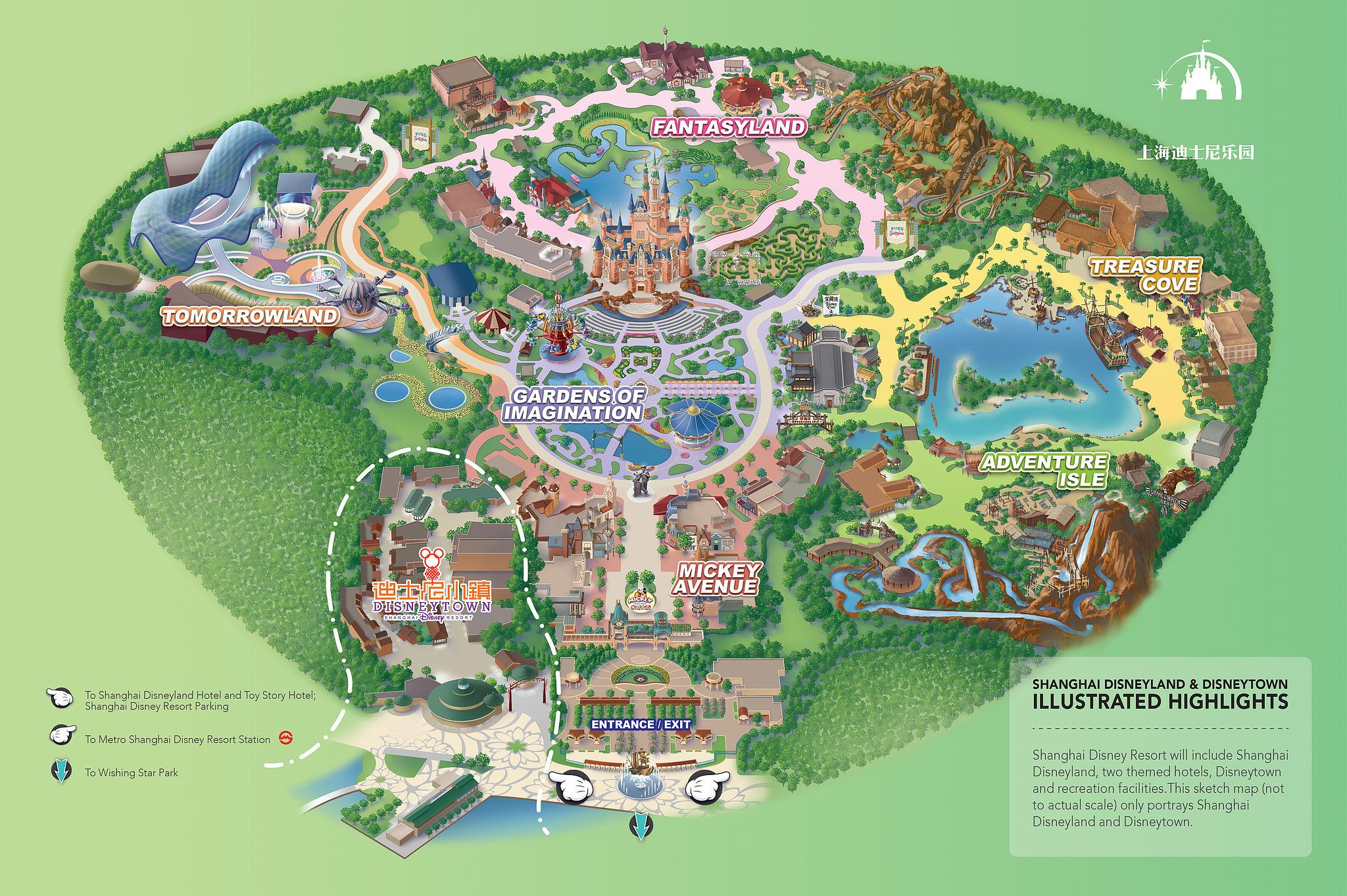 Map Of Shanghai Disneyland And Disneytown Shanghai Disneyland