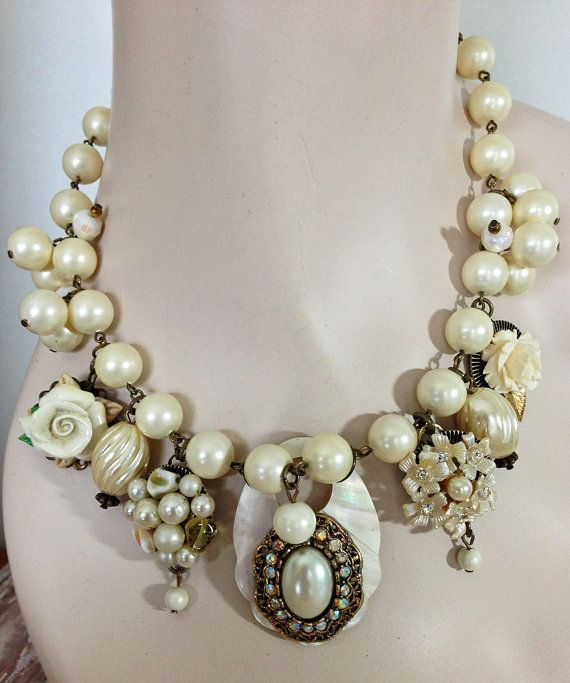 Vintage Beaded Choker Statement Necklace  Mother of by JaelDesigns Beach Wedding!