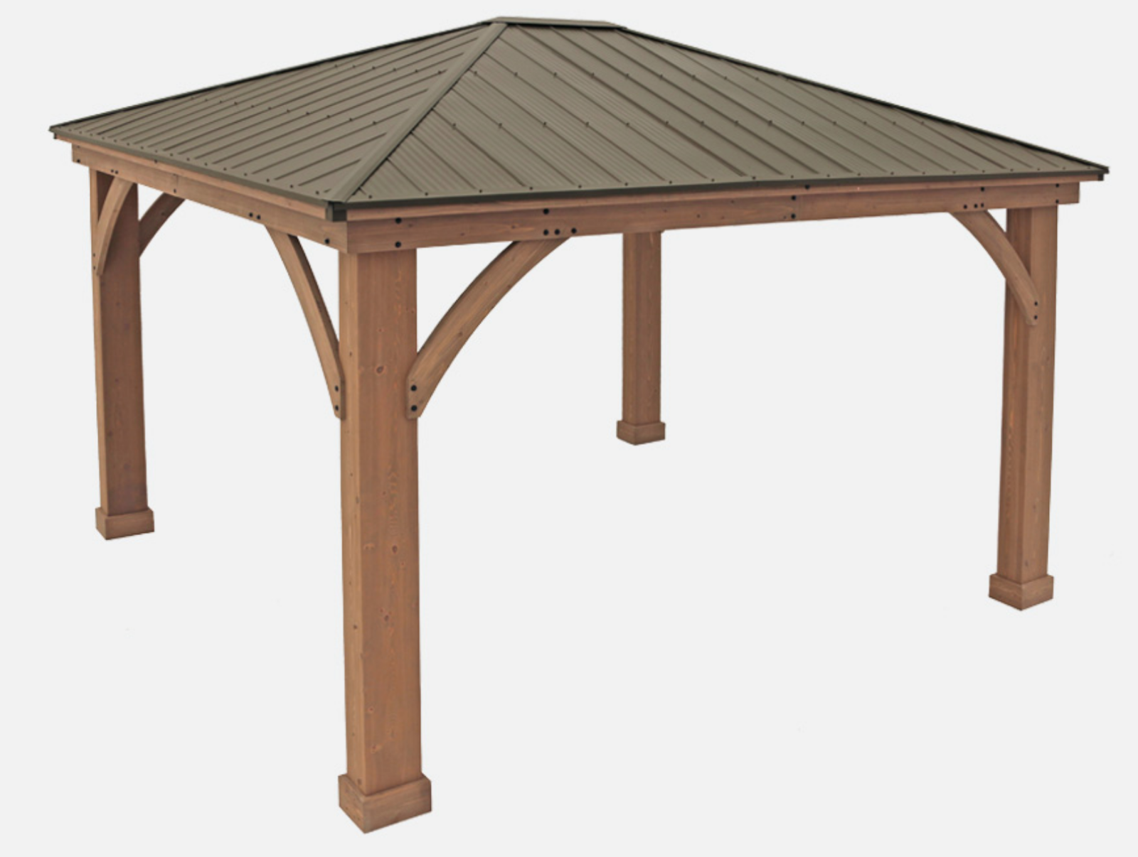 12 X 12 Wood Gazebo Heavy Duty Outdoor Aluminum Roof For Patio Sets Hot Tubs Spa Gazebos Aluminum Roof Gazebo Backyard Dining