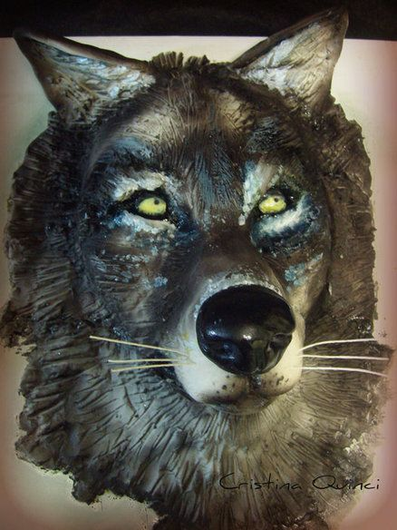 This wolf cake by Cristina Quinci is fairly frightening, but very cool.