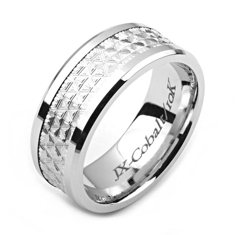 Men's Cobalt Ring 8mm Wide TwoTone Cobalt & 14K White