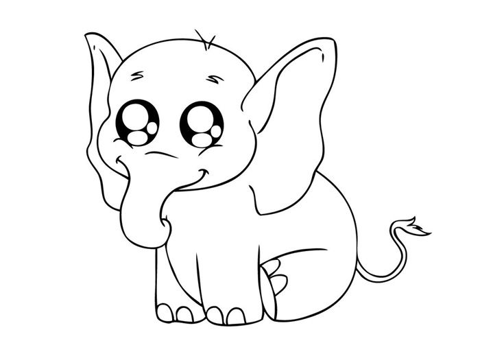 Color Pages Of Cute Easy Animal Baby Elephant Coloring