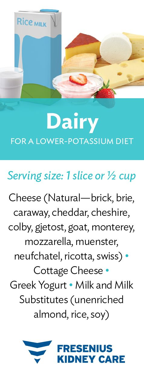 Choosing Dairy Like Cheese Greek Yogurt And Milk Will Help You Feel Your Best Use This Guide To Sel Low Potassium Recipes Potassium Foods Kidney Diet Recipes