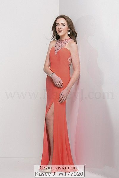 Fit And Flare Floor Length Prom Dress Jersey With Halter Neckline Front Crystal Beading At The Back